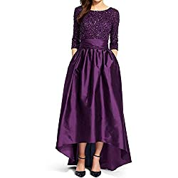 Women's Half Sleeve Hi-Lo Sequin Evening Gown