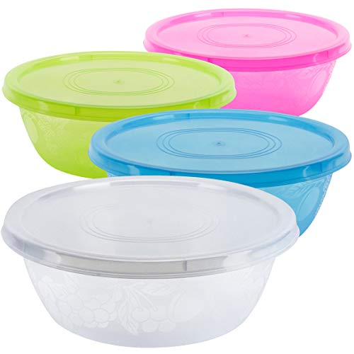 DecorRack Serving Bowl with Lid, Extra Large Pasta, Salad, Snack Bowl, Shatterproof, Durable -BPA Free- Plastic Mixing Bowl with Tight Lid, Beautiful, Vibrant Party Decor, Random Colors (1 Pack) (Big Bowl Salad Plastic)