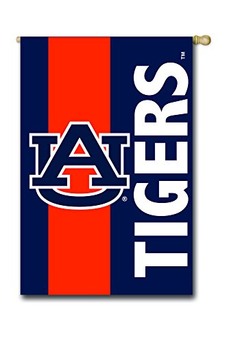 (Team Sports America Auburn University Outdoor Safe Double-Sided Embroidered Logo Applique House Flag, 29 x 44 inches)