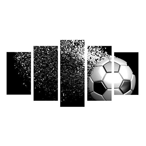 Soccer Canvas Art - Waterproof Canvas Painting Wall Art Soccer Football Sports Themed Canvas Wall Art for Boys Room Wall Decor Boys Gift Wall Pictures for Living Room & Bedroom, Black, Unframed, size 1