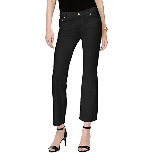 MICHAEL Michael Kors Women's Izzy Cropped Flare-Leg Jeans (Black, 2) (Black Cropped Jeans)
