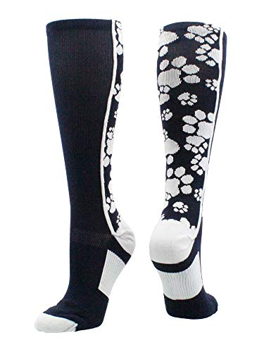 MadSportsStuff Crazy Socks with Paws Over The Calf (Navy/White, Small) - Navy Wrestling Arch