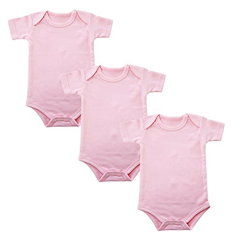 Enfants Chéris Newborn Baby Girls Short Sleeve Cotton Onesies & Bodysuits - 3 Pack, (Pink,6M) ()