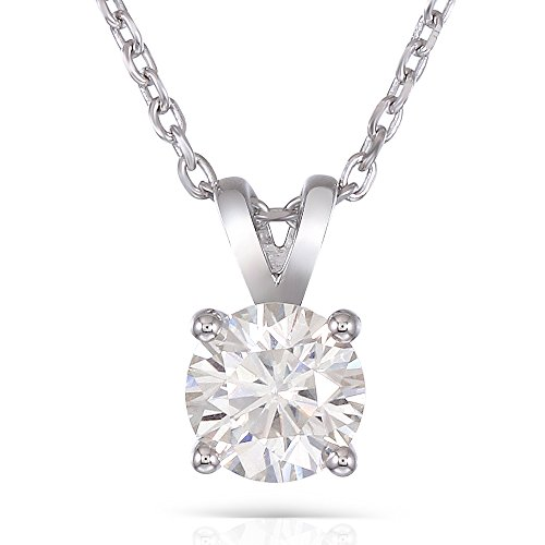 DovEggs Platinum Plated Silver 2 Carat 8mm H-I Color Created Moissanite Round Solitare Pendant Necklace for Women