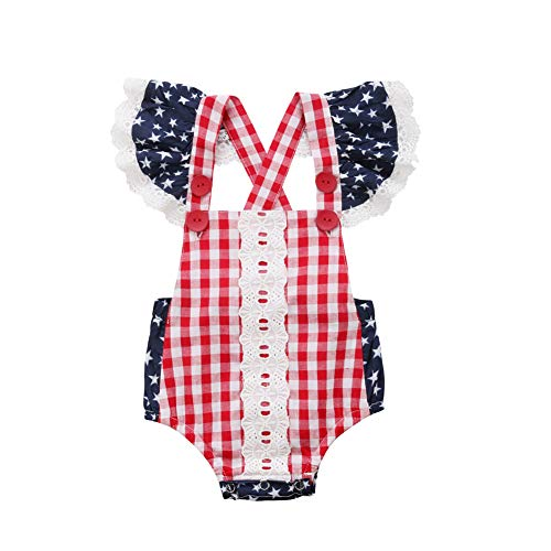 Baby Girl 4th of July Outfit Newborn One Piece Lace Striped Plaid Star Printed Romper Bathing Suit(18-24 Months)