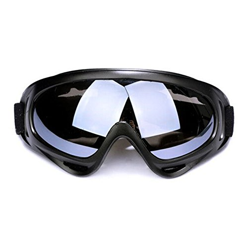Aphse Snowboard Ski Goggles Eyewear Sunglasses Adjustable UV Protective Outdoor Glasses Portable Motorcycle Goggles Black Gray Dust-Proof Protective Combat Goggles Play Games Protective Glasses ()