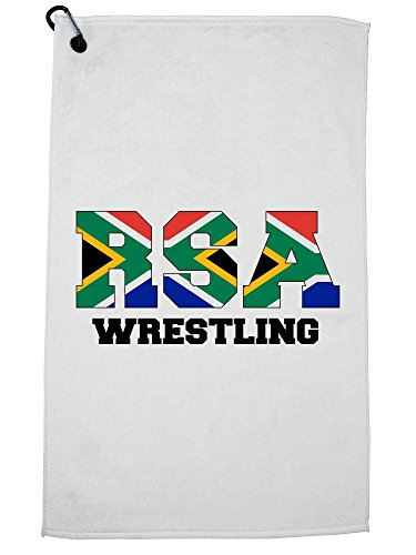 Hollywood Thread South Africa Wrestling - Olympic Games - Rio - Flag Golf Towel with Carabiner Clip by Hollywood Thread