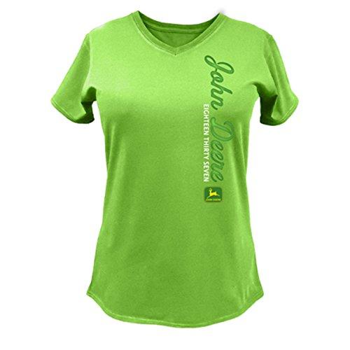 John Deere Eighteen Thirty Seven Ladies V-neck T-shirt-large (John Ladies Shirt Deere)