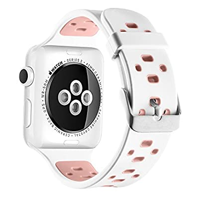 UMTELE Soft Silicone Replacement Band Sport Strap with Ventilation Holes for Apple Watch Nike+, Series 2, Series 1, Sport, Edition