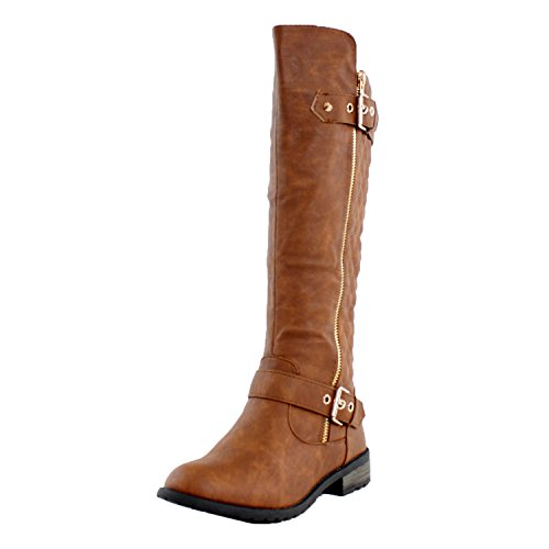 Forever+Link+Women%27s+MANGO-21+Quilted+Zipper+Accent+Riding+Boots+%2810+B%28M%29+US%2C+Tan+Pu%29
