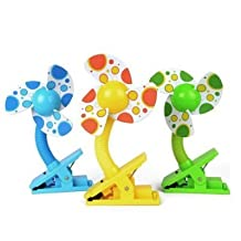 Multifunction Portable Mini Clip Fan for Baby Stroller Baby Cots Playpens Desks In the car Clip-on With USB Cable in Green,Blue,Yellow(Random Colour)