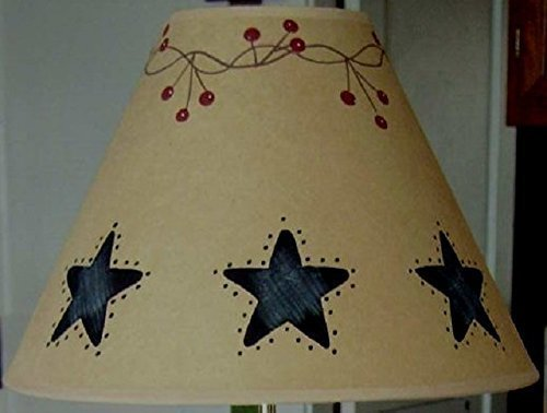 Country Punched Tin (Primitive Country Decor Faux Punched Black Tin Brown Oiled Craft Lamp Shades All Sizes Made in USA)