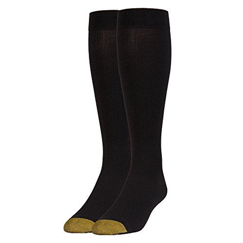 Gold Toe Men's Mild Compression Rib Otc 1 Pack, Black, Sock Size:10-13/Shoe Size: 6-12