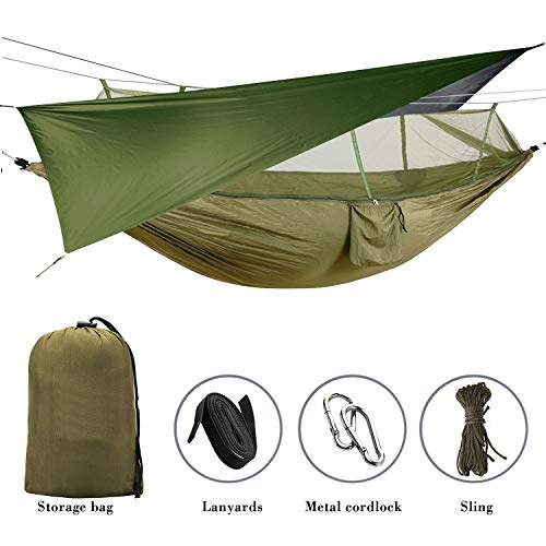 Elevens Outdoor Mosquito Net Hammock with Waterproof Sunshine Tent Rain Fly Tent Tarp (Green)
