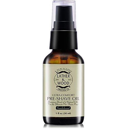 Eshave Razor And Brush Stand - Best Pre-Shave Oil, Sandalwood, Premium Shaving Oil for Effortless Smooth Irritation-free Shave. 1 Oz