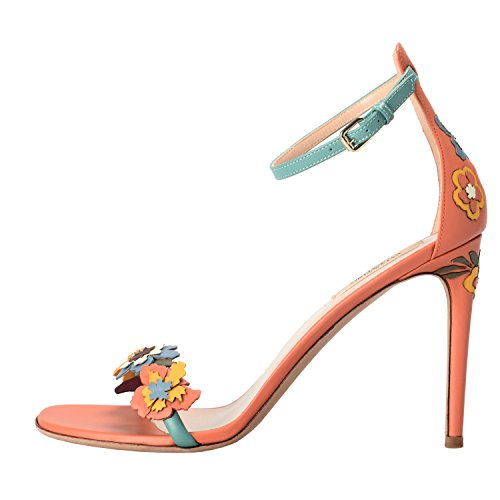 Ankle Shoes Heels Toe Garavani Leather Strap Flowers Open High Women's Valentino Peach Y4vHCnqY