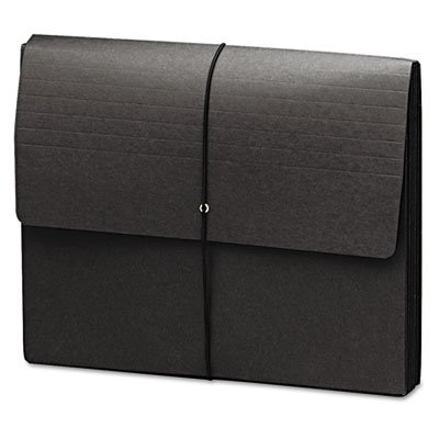 Extra-Wide Five'' Exp Wallets, 12 3/8 x 10, Black, 10/Box