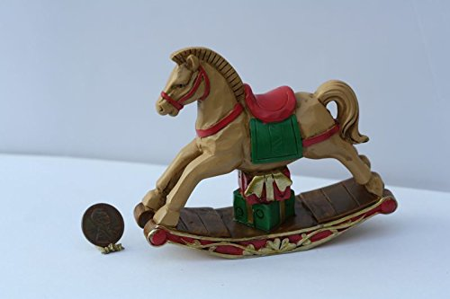 Dollhouse Miniature Large Rocking Horse in Brown, Red, & Green