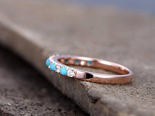 Turquoise Wedding Band Round CZ 925 Sterling Silver Rose Gold Plated Bridal Stacking Ring Stackable by Milejewel Wedding Band (Image #1)