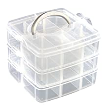 HOUSWEETY 3 Tier Adjustable 18 Compartment Slot Plastic Craft Storage Box Jewelry Tool Container