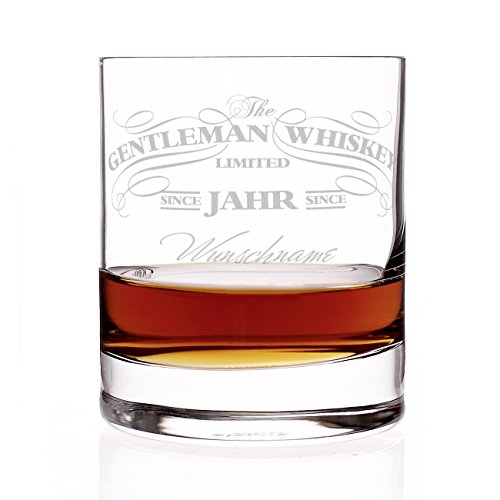 Privatglas Whiskey Glas - Gentleman Whiskey Design - Gratis Gravur Name u. Geburtsjahr