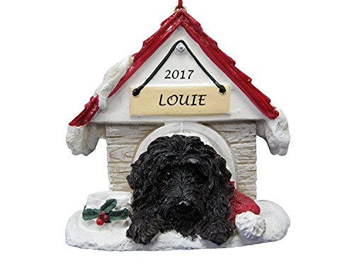- Doghouse Ornament - Labradoodle, Black Color Ornament Hand Painted and Personalized Christmas Doghouse Ornament with Magnetic Back
