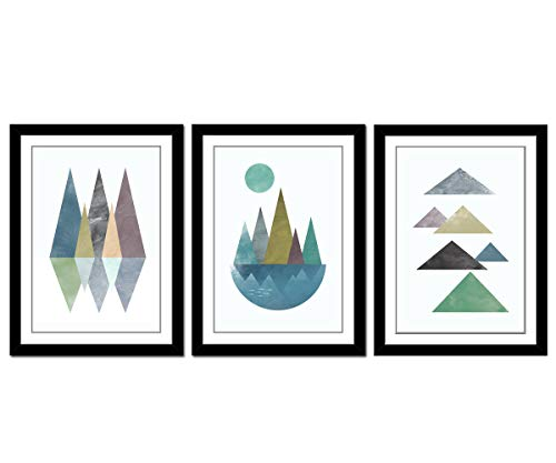 Canvas Wall Art With Black Frames Abstract Triangles Mountain Sunset Geometry Hill Lake Fish Canvas Picture Artwork for Living Room Bedroom Office Home Wall Decor 12