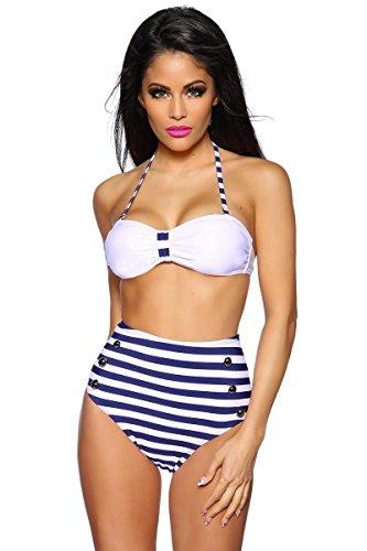 Retro-Bikini - weiß/blau - M