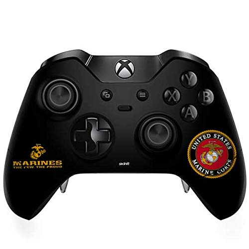 Skinit Black Full US Marine Corps Xbox One Elite Controller Skin - Officially Licensed SkinIt.com Generic Gaming Decal - Ultra Thin, Lightweight Vinyl Decal Protection