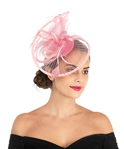 Lucky Leaf Women Girl Fascinators Hair Clip Hairpin Hat Feather Cocktail Wedding Tea Party Hat (2-Pink) -