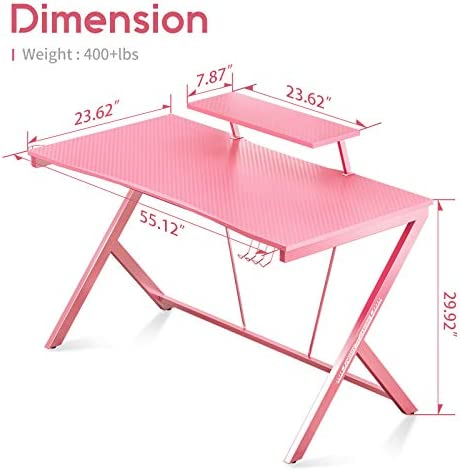 "Gaming Desk 55"" with Monitor Shelf Gaming Table Home Computer Desk with Cup Holder and Headphone Hook Gamer Workstation Game Table, Pink"