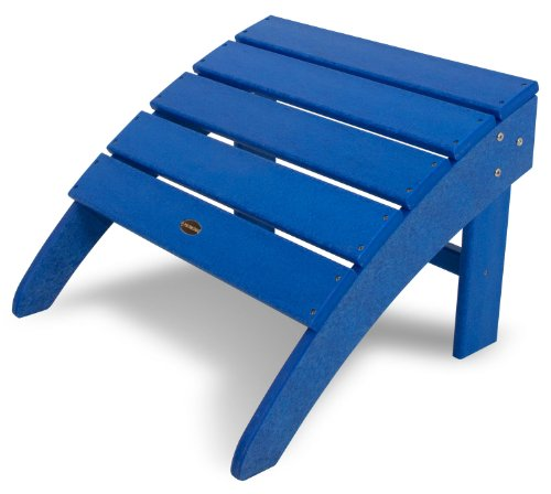 POLYWOOD SBO22PB South Beach Adirondack Ottoman, Pacific Blue