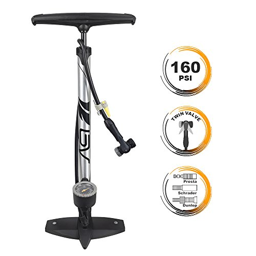 BV Bicycle Ergonomic Bike Floor Pump with Gauge & Smart Valve Head, 160 psi, Automatically Reversible Presta and Schrader (Best Bike Pumps For Presta Valves)
