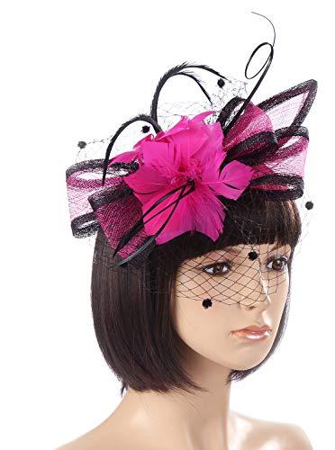 - JASMINO Women Fascinators Hat Hair Clip Kentucky Derby Flower Brooch Feather Headband Mesh Veil Mardi Gras Tea Cocktail Party