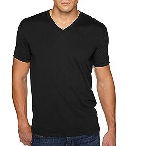 Next Level Men's Premium Sueded Short Sleeve V-Neck T-Shirt, XL, BLACK