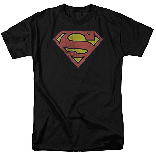 DC Comics Retro Supes Logo Distressed Mens Short Sleeve Shirt
