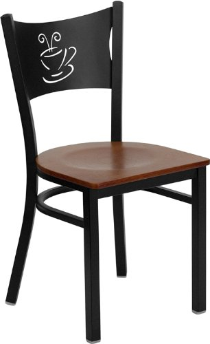 (Flash Furniture HERCULES Series Black Coffee Back Metal Restaurant Chair - Cherry Wood Seat)