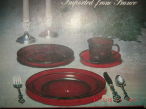 IMPORTED FROM FRANCE - Crafted by J.G. Durand ARCOROC 16 Piece Hostess Set Ruby Dinnerware