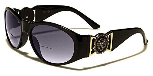 Kleo ovale femmes Bifocales 2 en 1 Lunettes de lecture & Lunettes de soleil complet UV400 Protection GRATUIT vibrant Hut microfibre poche inclus noir 2.50 DIOPTRES
