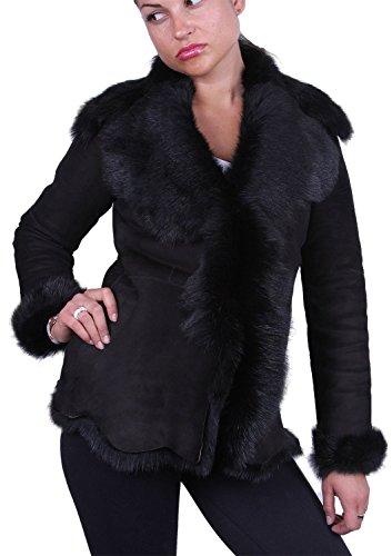 - Brandslock Womens Suede Real Toscana Sheepskin Leather Coat Medium(10) Black