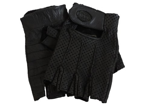 XL Fingerless Perforated Black Leather Gloves Size XL