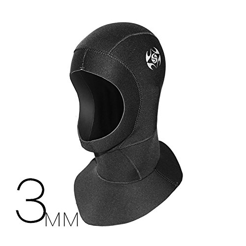 Neoprene Wetsuit Dive Hood Vented Bib Hood 3MM for Men Women, Water Sports Cap Warm Comfortable Slip-on for Snorkeling Surfing Scuba Diving Kayaking Swimming Sailing Canoeing (M) ()