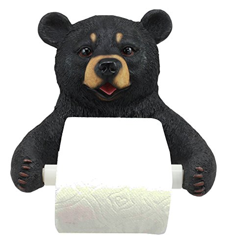 Ebros Whimsical Black Bear Toilet Paper Holder Bathroom Wall Decoration 8.25
