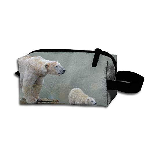 Clash Durable Zipper Wallet Makeup Handbag With Wrist Band White Polar Bear Mom And Baby Toiletry Bag -