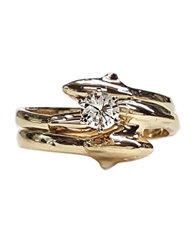 Dolphin Wedding Set with 1/4ct Center Diamond in 14kt Gold. Single Dolphin Bands ()