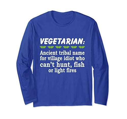 Unisex Vegetarian Ancient Tribal Name Long Sleeve Tee For Parents  Large Royal Blue
