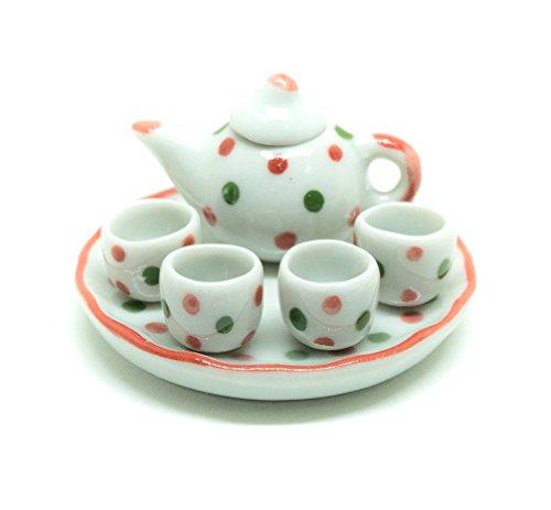 Dollhouse miniature Food,Tiny Food Collectibles ( Color Dot Coffee Tea Cup Set ) Enjoy Afternoon Tea (Tea Liquor)