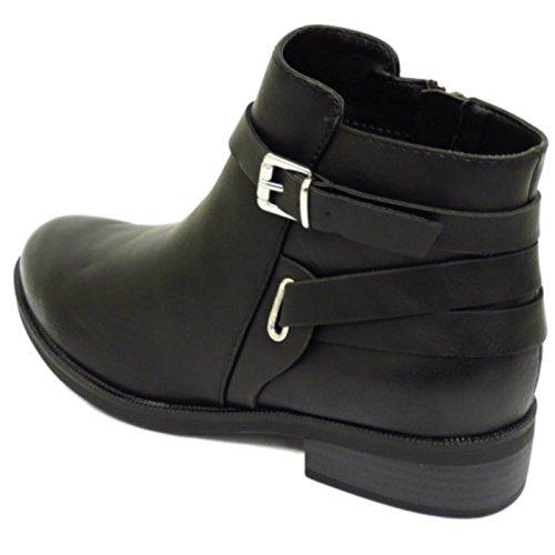 Damen Flach Schwarz Reißverschluss Biker Knöchel Chelsea Pixie Stiefel Smart Arbeitsschuhe Sizes 3-8 - Schwarz, EU 36