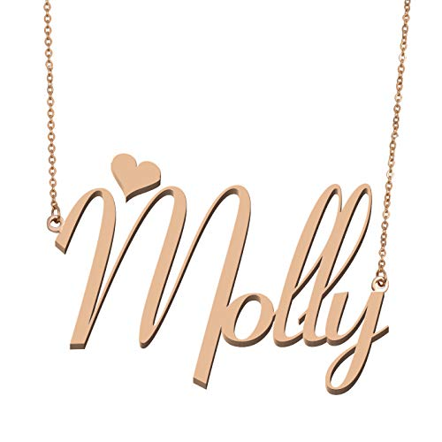 Molly Metal - Aoloshow Customized Custom Name Necklace Personalized - Custom Made Molly Necklace Initial Monogrammed Gift for Womens Girls