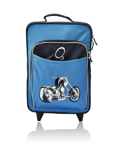 Kids Travel Suitcase, Rolling Luggage Piece, Light and Easy To Pull (Motorcycle)